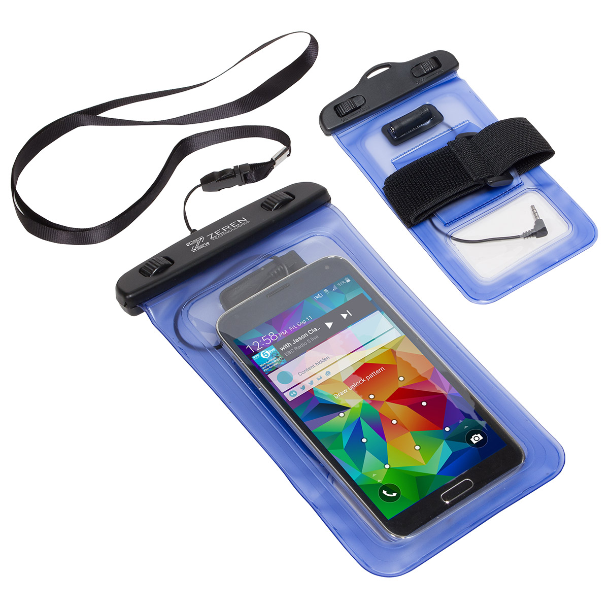 Dual Use Waterproof Smart Phone Case w/ Audio Jack, WOR-SP16 - 1 Colour Imprint