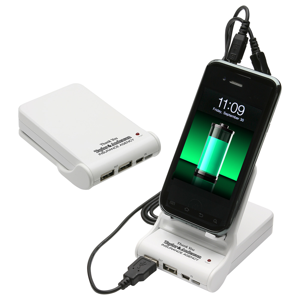 Easel Dual Power Bank Porta-Charger, WCP-EP11, 1 Colour Imprint