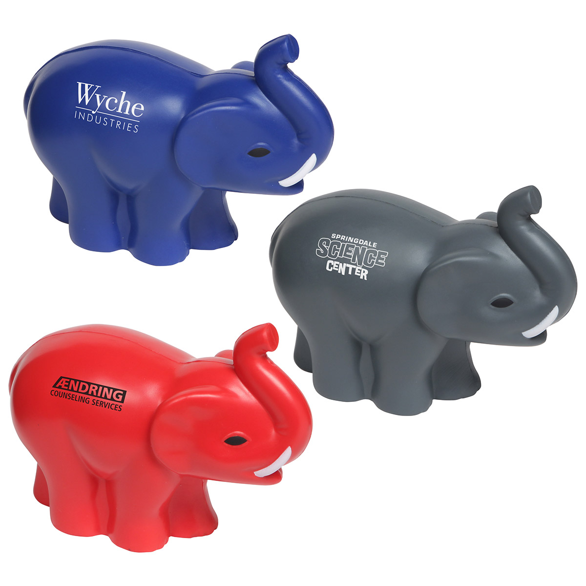 Elephant w/ Tusks Stress Reliever, LAZ-ET08 - 1 Colour Imprint
