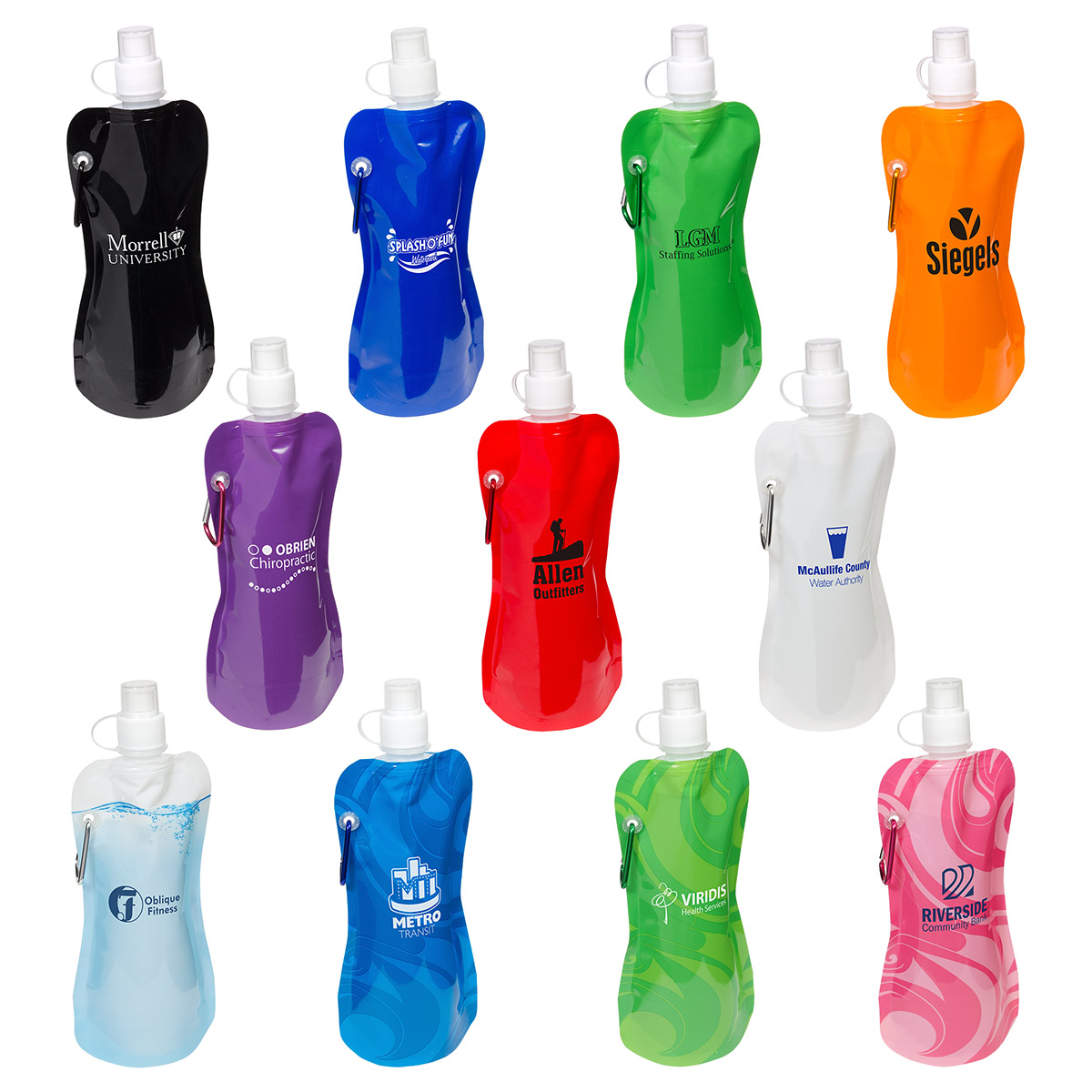 Flex Foldable 16 oz Water Bottle with Carabiner, WKA-FW13, 1 Colour Imprint