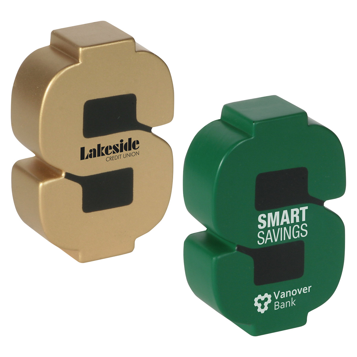 Dollar Sign Shaped Stress Reliever, LFN-DS04 - 1 Colour Imprint