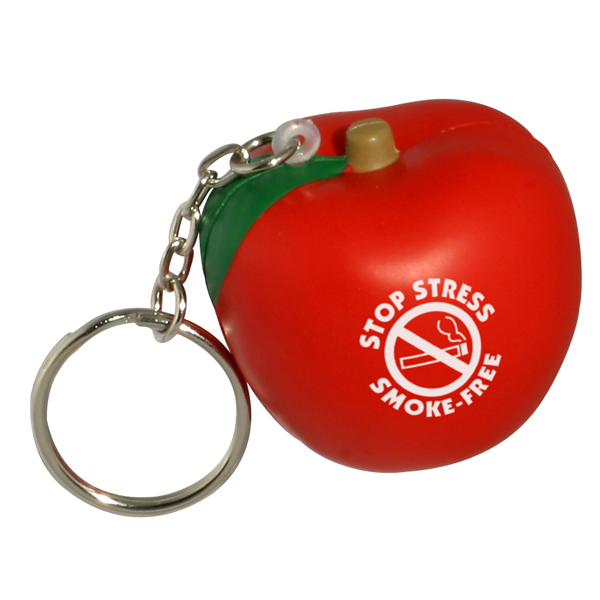 Apple Stress Reliever Keychain, LKC-AP01 - 1 Colour Imprint
