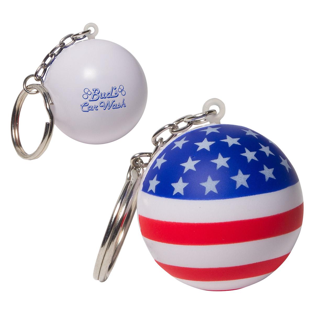 Patriotic Stress Ball Key Chain, LKC-SF03, 1 Colour Imprint