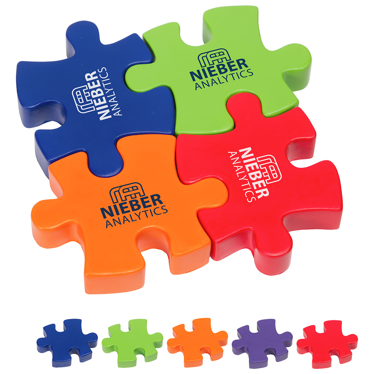 4-Piece Connecting Puzzle Set Stress Reliever, LGS-4P17, 1 Colour Imprint