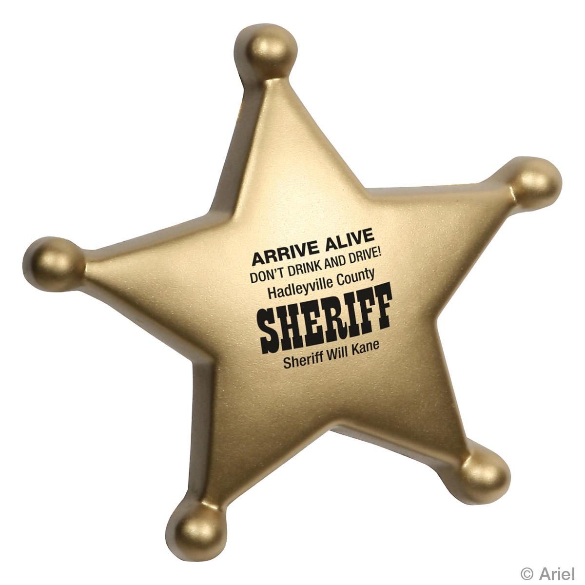 Sheriff's Badge Stress Reliever, LGS-SB11 - 1 Colour Imprint