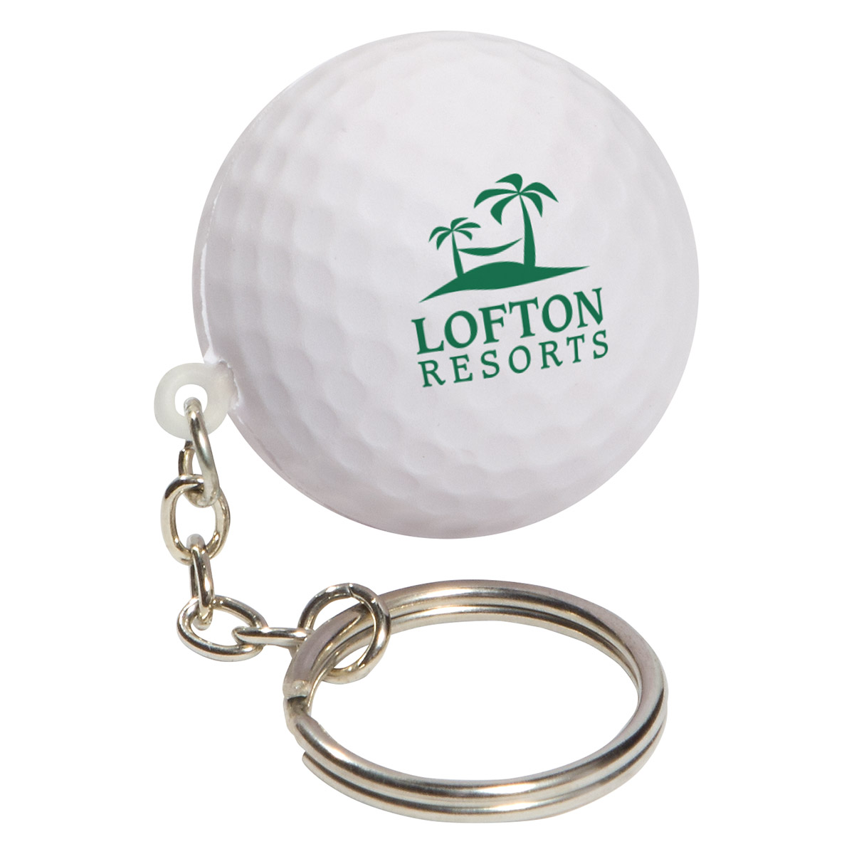 Golf Ball Stress Reliever Keychain, LKC-GF04 - 1 Colour Imprint