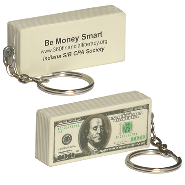 $100 Bill Stress Reliever Keychain, LKC-HD01 - 1 Colour Imprint