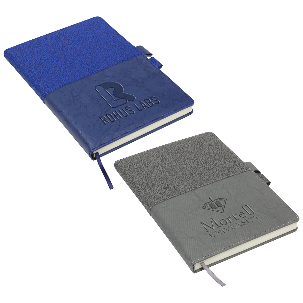 Quarry Textured Journal with Interlocking Pen Closure, WOF-QT18, Debossed Logo