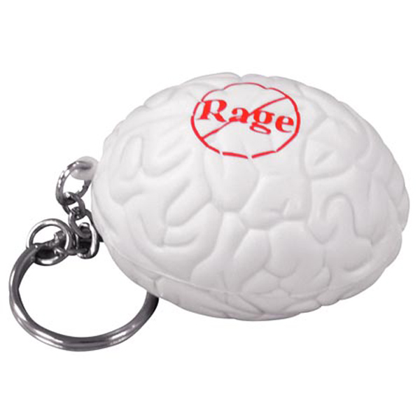 Brain Stress Reliever Keychain, LKC-BR05 - 1 Colour Imprint