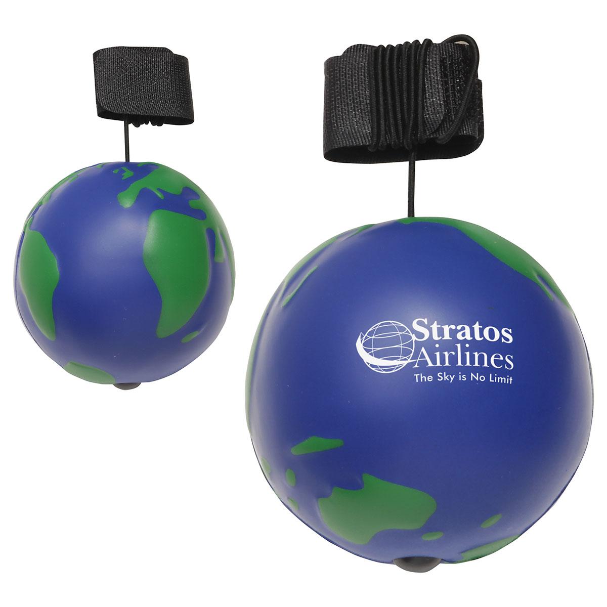 Earth Ball Yo-Yo Bungee Stress Ball, LYY-EB01 - 1 Colour Imprint