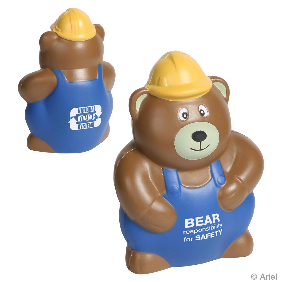 Construction Worker Bear Stress Reliever, LCN-CW12 - 1 Colour Imprint