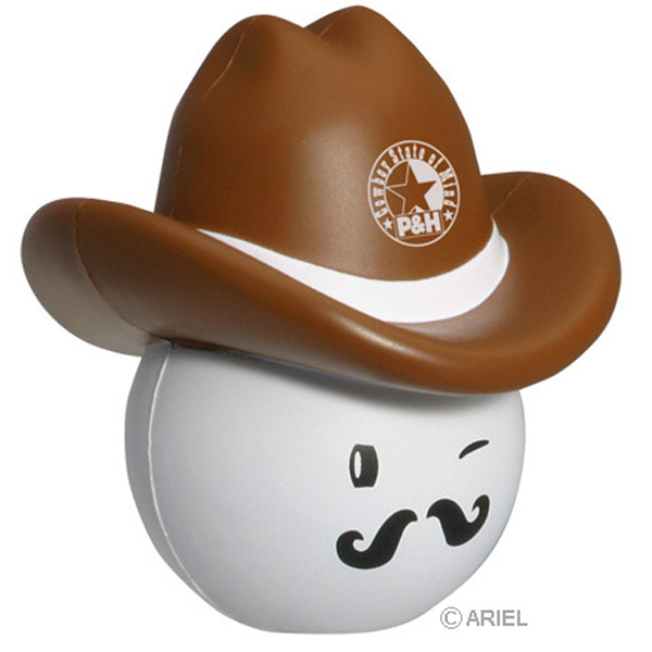 Cowboy Mad Cap Stress Reliever, LMA-CB06, 1 Colour Imprint