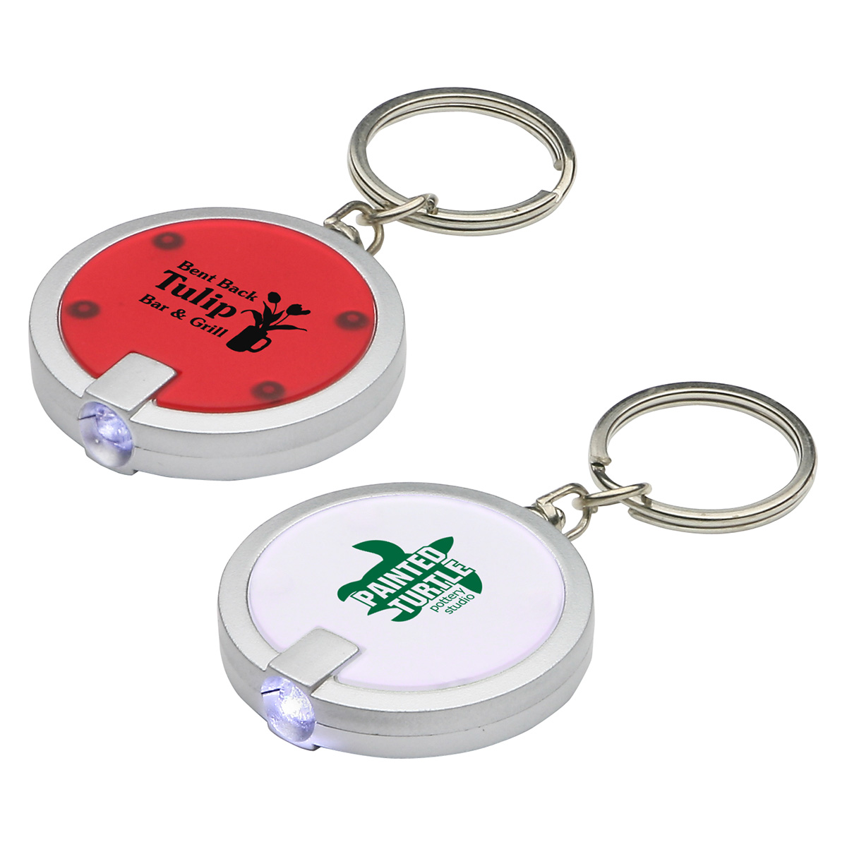 Round Simple Touch LED Key Chain, WLT-RS11, 1 Colour Imprint