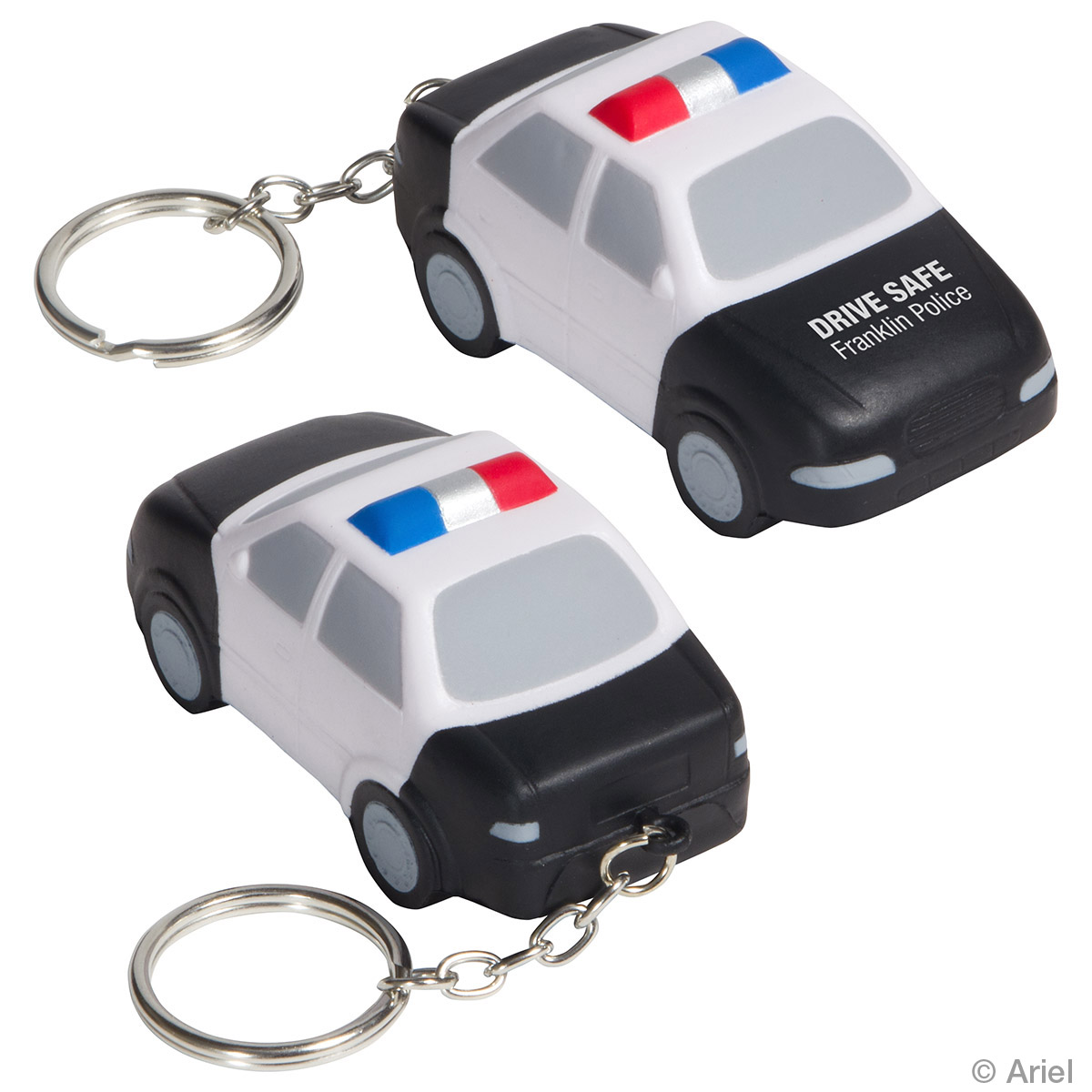 Police Car Stress Reliever Key Chain, LKC-PC15, 1 Colour Imprint
