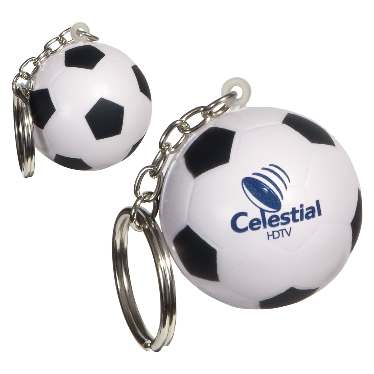 Soccer Ball Stress Reliever Keychain, LKC-SC06 - 1 Colour Imprint