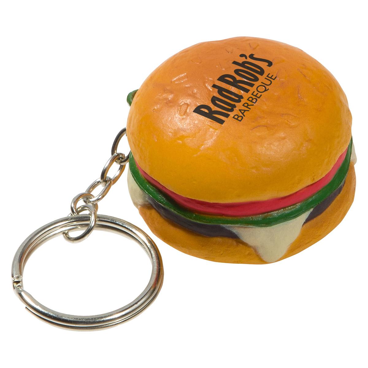 Hamburger Stress Reliever Keychain, LKC-HB07 - 1 Colour Imprint