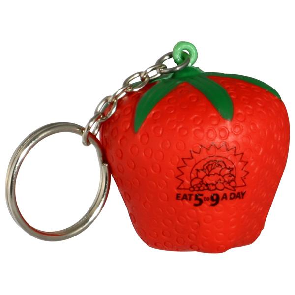 Strawberry Stress Reliever Key Chain, LKC-SW08, 1 Colour Imprint