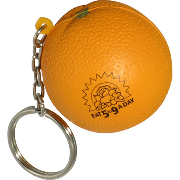 Orange Stress Reliever Key Chain, LKC-OR05, 1 Colour Imprint