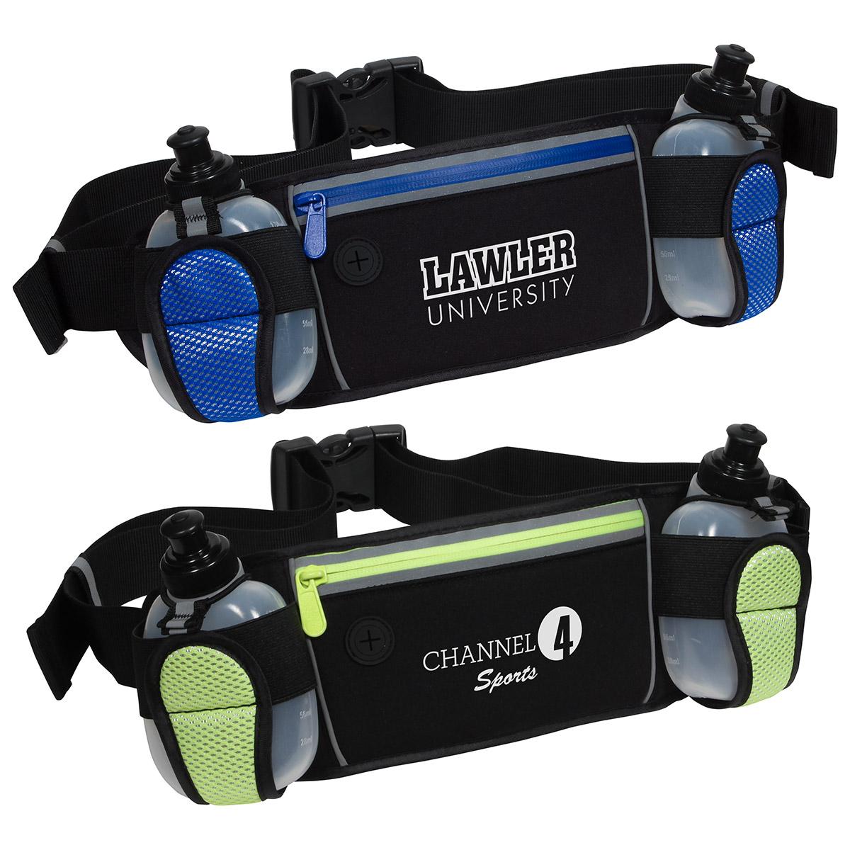 Sleek Water Resistant Sports Waist Pack w/ Dual Bottle Holder, WBA-SB16 - 1 Colour Imprint