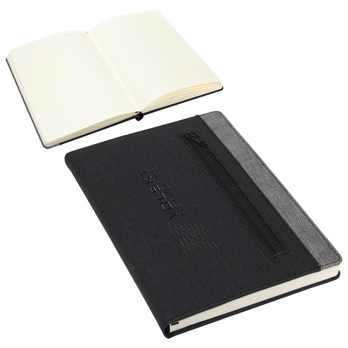 Zip-It Pocketed Journal, WOF-ZT18, Debossed Logo