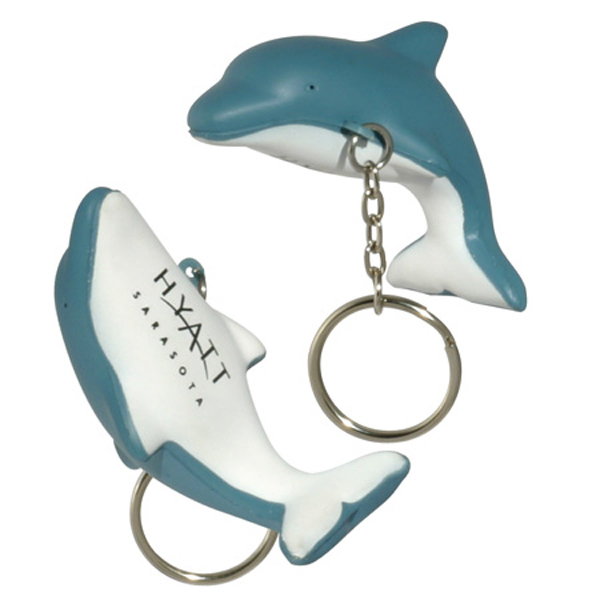 Dolphin Stress Reliever Keychain, LKC-DP03 - 1 Colour Imprint