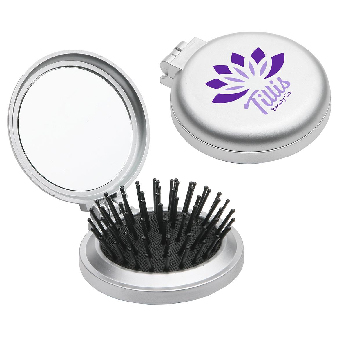Travel Disk Brush & Mirror, WTV-TD10 - 1 Colour Imprint