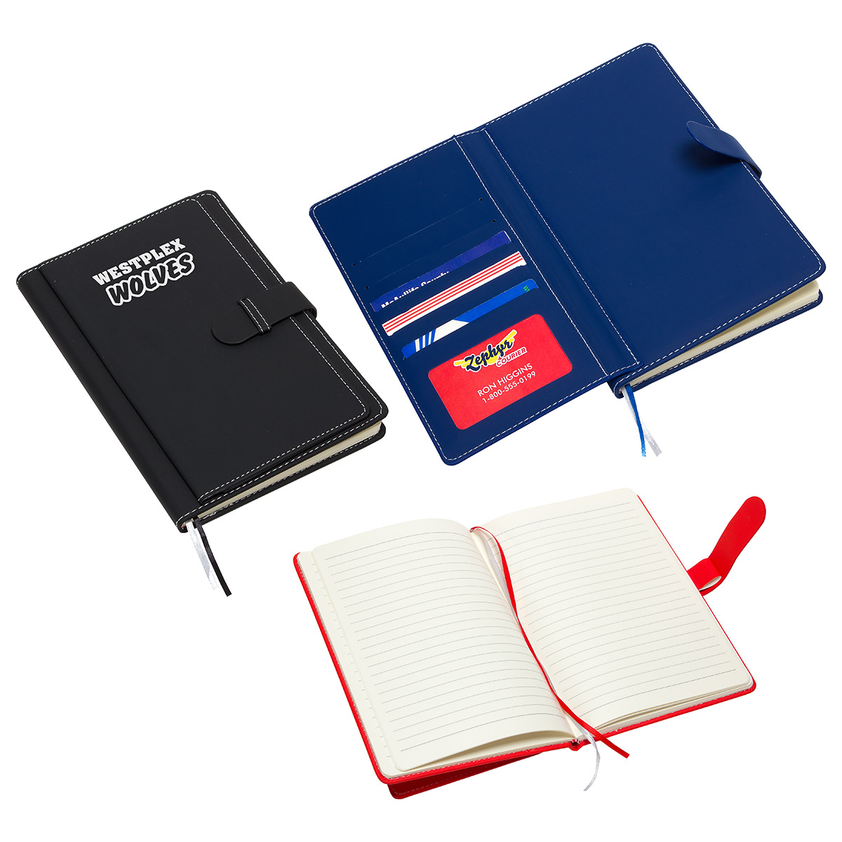 Travel Journal with Card Pockets, WOF-TJ17 - 1 Colour Imprint