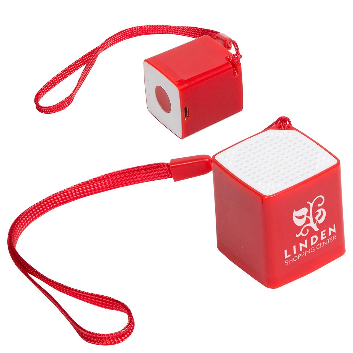 Wireless Mini Cube Speaker with Selfie Button & Mic, ESP-MC16 - 1 Colour Imprint
