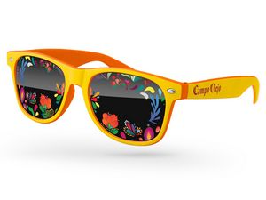 3c06ec7d5a70 Promotional Product - 2-Tone Retro Sunglasses W/Full Colors Lens Imprint &  1 Color Temple Imprint