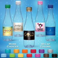 12 oz. Spring Water Full Color Label, Clear Glastic Bottle w/Pink Cap