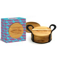 6 Piece Round Tropical Teak Wood Coaster Set In Gift Box