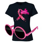 Breast Cancer Full-Color DTG T-Shirt (BLK) & Sunglasses Kit