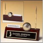 Golfthemed Rosewood Piano Finish Desk Accessory. 9x9