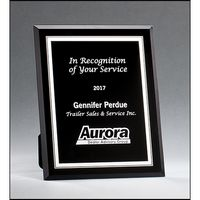 Black Glass Plaques with Silver Borders