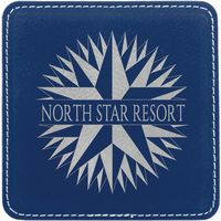 "4"" x 4"" Square Blue/Silver Laser engraved Leatherette Coaster"
