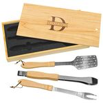 Custom 3-Piece BBQ Set in Wooden Pine Box