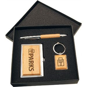 Wood Pen Keychain And Business Card Holder Gift Set In Black