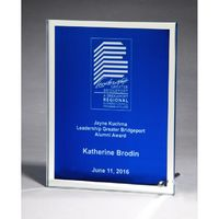Glass Plaque with Blue Center and Mirror Border 6x8
