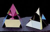 "Rainbow Crystal Pyramid Paperweight (4""x4 1/2"")"