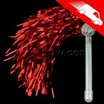 LED Metallic Pom Poms Red