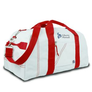 Large Square Duffel Bag White Red 209wr Ideastage Promotional Products