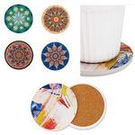 Round Ceramic Coasters With Cork Base