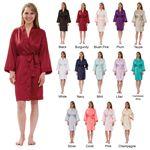 Custom Women's Silky Matte Satin Knee-Length Kimono Robe