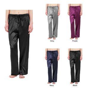 Womens Stretch Silky Satin Pajama Pants, Sleepwear, Lounge Wear