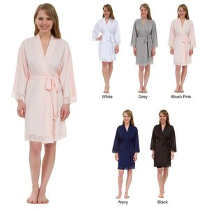 Custom Women's Lace Trim Jersey Knee-Length Robe