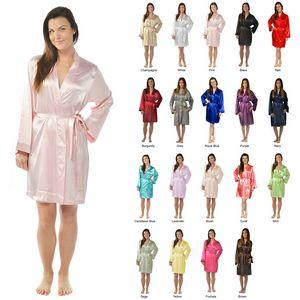 Custom Women's Solid Silky Robe Satin Knee-Length Kimono Robe