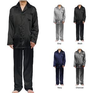 Custom Men's Stretch Silky Satin Pajama Sets, Sleepwear