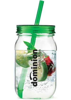 25 Oz. Single Wall Acrylic Mason Jar w/Straw, 3.5