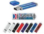 Custom 256 MB USA Decorated Chrome Accents & Key-Loop w/ Slim Plastic USB Drive