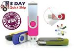 Custom 1 GB Plastic Swivel USA Made USB Flash Drive w/ Metal Swivel Cover